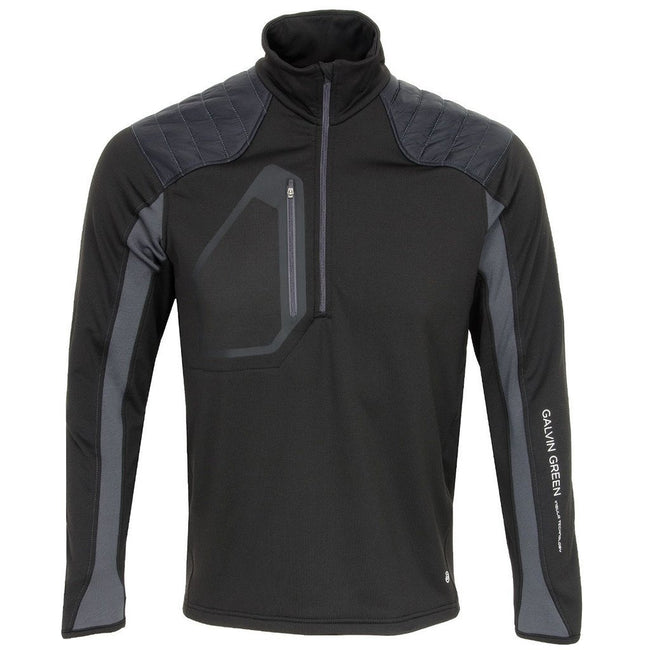 Galvin Green Dash Insula Padded Half Zip Pullover in Black / Iron Grey