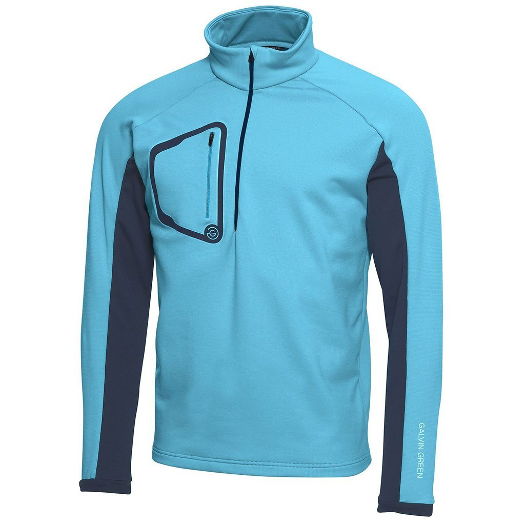Galvin Green Diego Half Zip Insula Pullover in River Blue / Navy