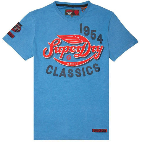 Superdry Famous Flyers T-Shirt in Wave Blue Heather T-Shirts Superdry