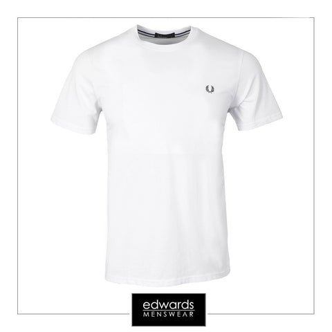 Fred Perry  Crew Neck Tee In White