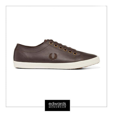 Fred Perry Kingston Leather Trainers in Dark/Chocolate