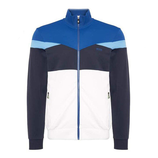 BOSS Athleisure Skarley Zip Sweatshirt in White / Blue Jumpers BOSS