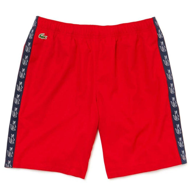Lacoste Sport GH3582-528 Croc Print Tape Shorts in Red / Navy
