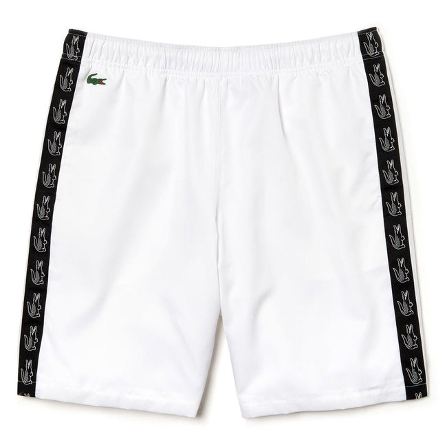 Lacoste Sport GH3582-AU8 Croc Print Tape Shorts in White / Black