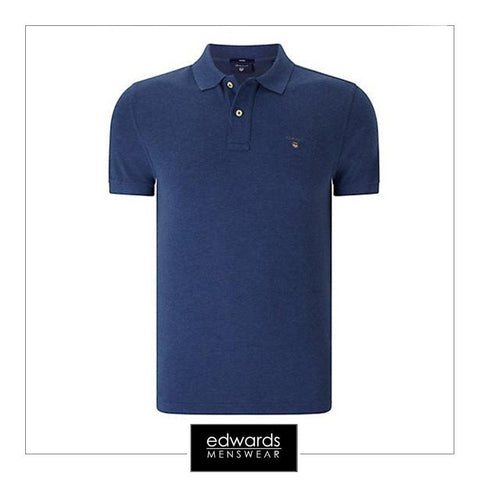 Gant The Original Pique SS Rugger Polo Shirt in Ocean Blue Melange