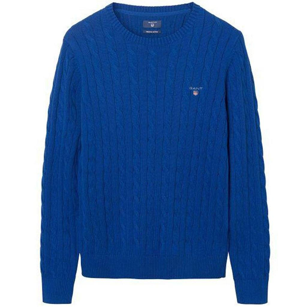 Gant Stretch Cotton Crew Neck Jumper in Yale Blue Jumpers Gant