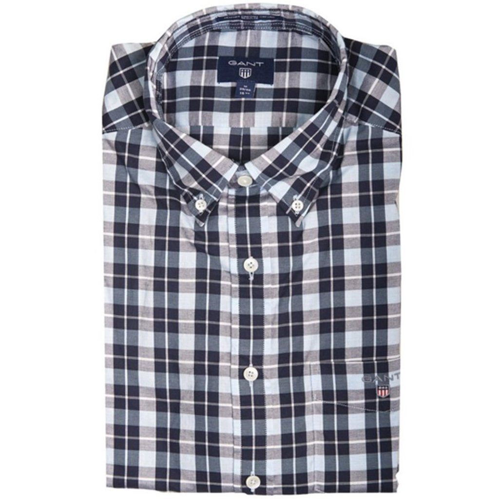 Gant Heather Check Oxford Shirt in Evening Blue