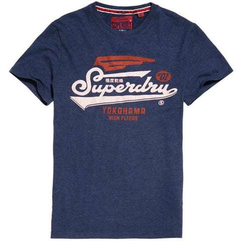 Superdry High Flyers Duo Tee in Princedom Blue Marl T-Shirts Superdry