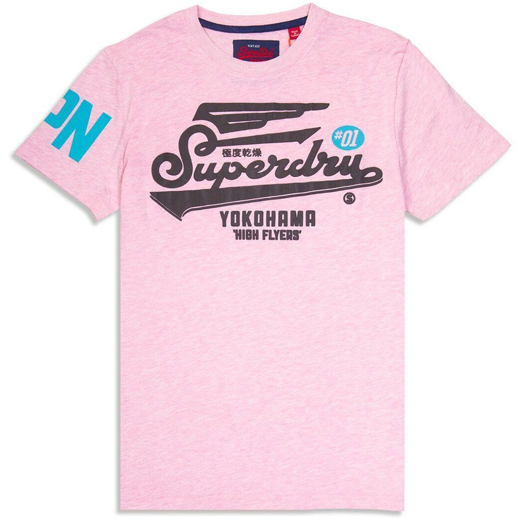 Superdry High Flyers Tee Shirt in Pastel Pink Marl