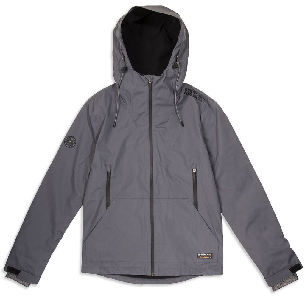 Superdry Hooded Elite Windcheater in Dark Charcoal