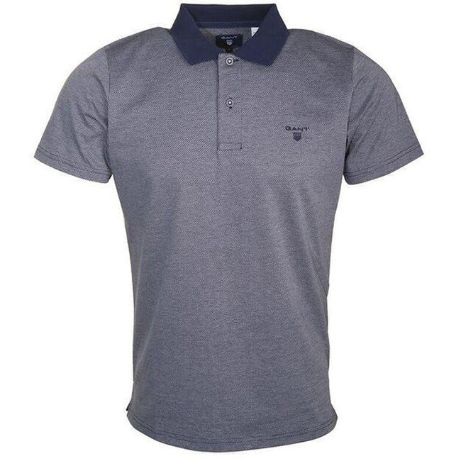 Gant Jacquard Pattern SS Rugger Polo Shirt in Shadow Blue Polo Shirts Gant