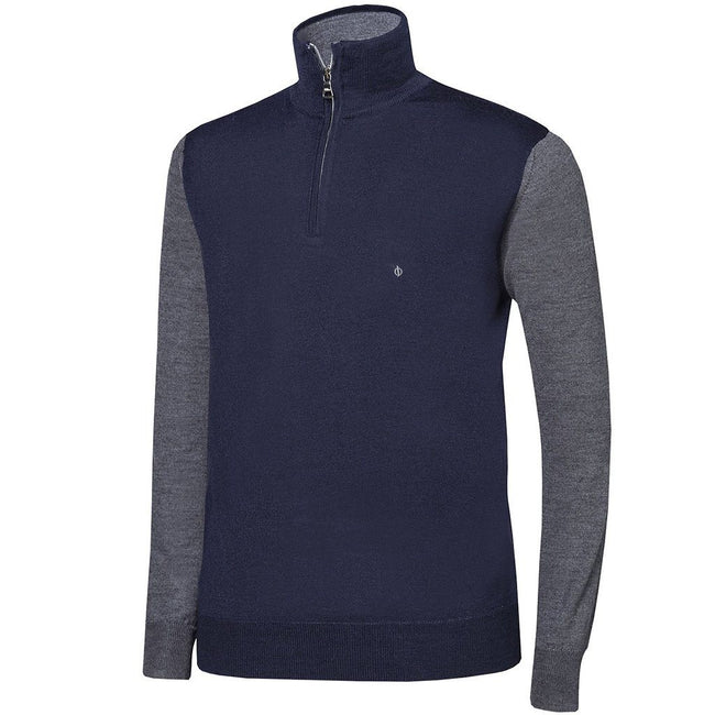 Oscar Jacobson Jerome Pin Half Zip in Navy