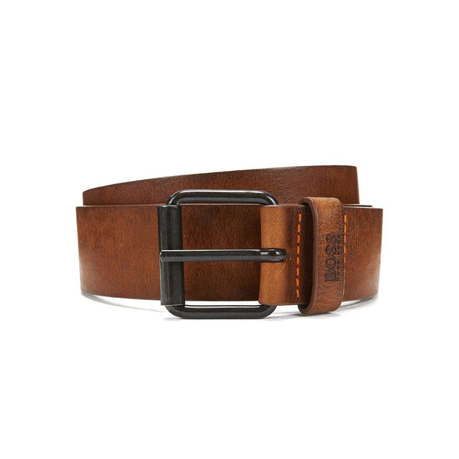 BOSS Athleisure Jesse Leather Belt in Tan Brown Belts BOSS