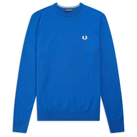 K7601-111 Crew Neck Merino Jumper in Mid Blue Jumpers Fred Perry