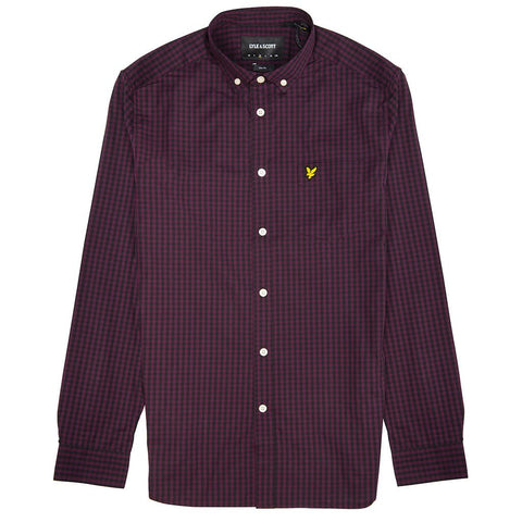 Lyle & Scott Slim Fit Gingham Shirt in True Black Shirts Lyle & Scott