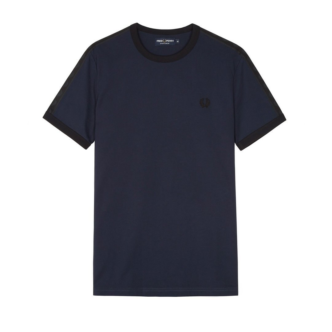 Fred Perry M3582 Tonal Taped Ringer Tee in Washed Navy