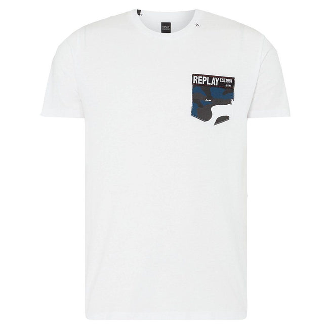Replay Camo Pocket T-Shirt in White