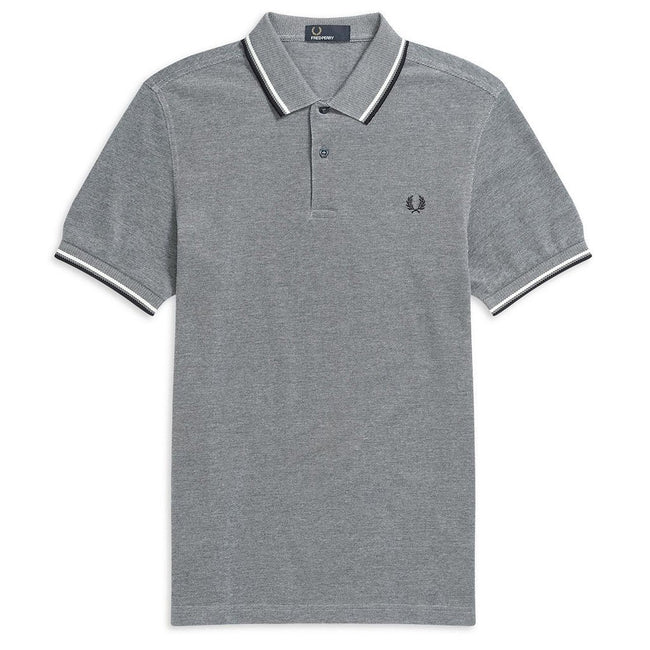 Fred Perry M3600 Twin Tipped Polo Shirts in Carbon Blue / Snow White