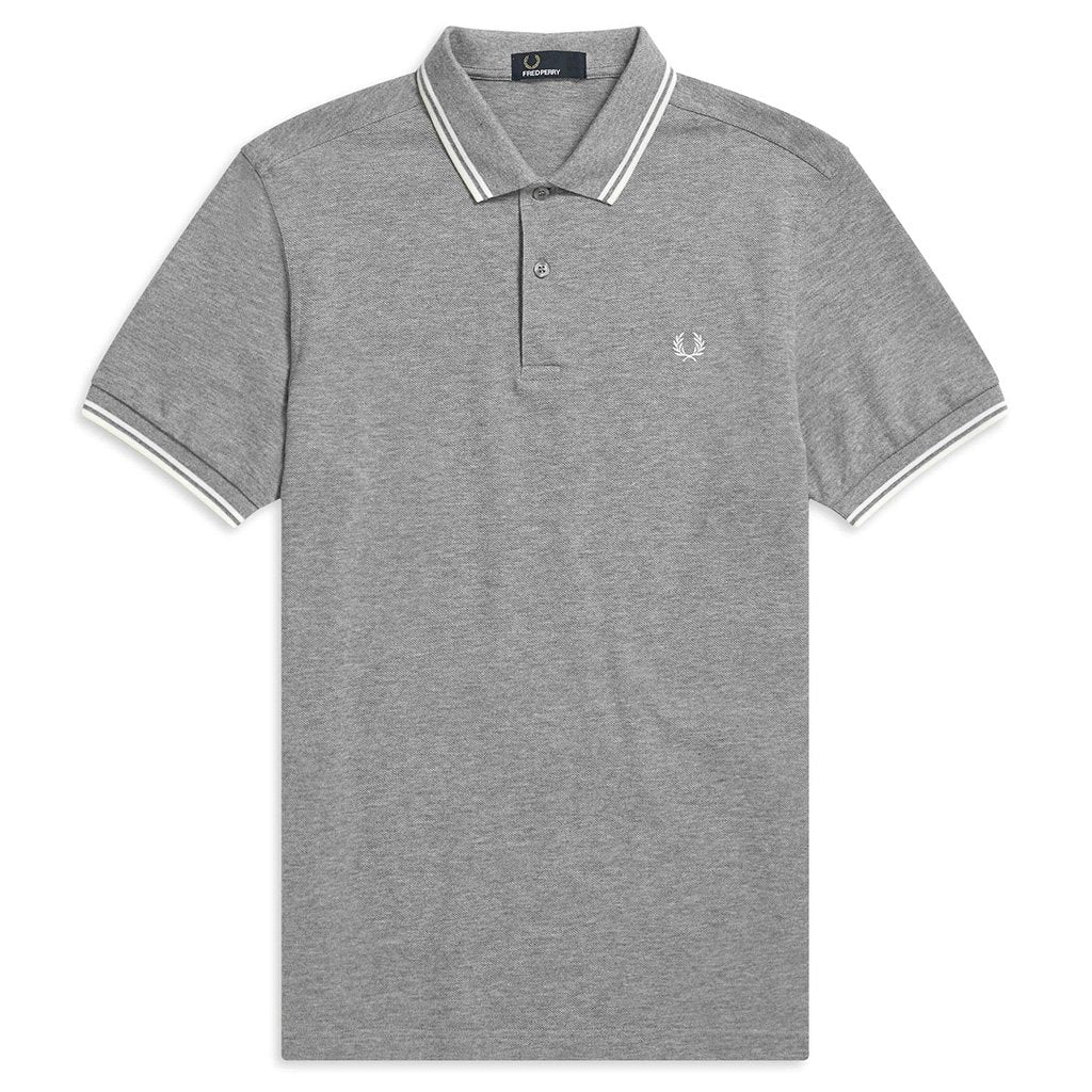 Fred Perry M3600 Twin Tipped Polo Shirt in Steel Marl / Snow White