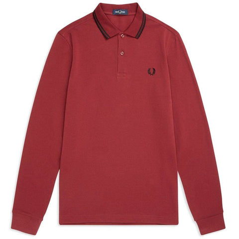 M3636-D31 Long Sleeved Twin Tipped Polo Shirt in Dark Red Polo Shirts Fred Perry