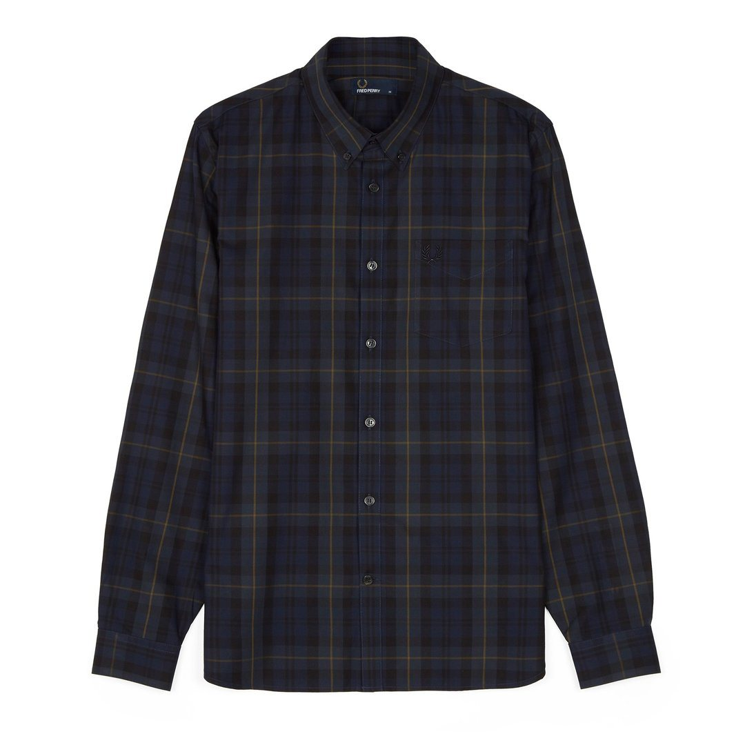 Fred Perry M4535 Contrast Stripe Tartan Shirt in Navy