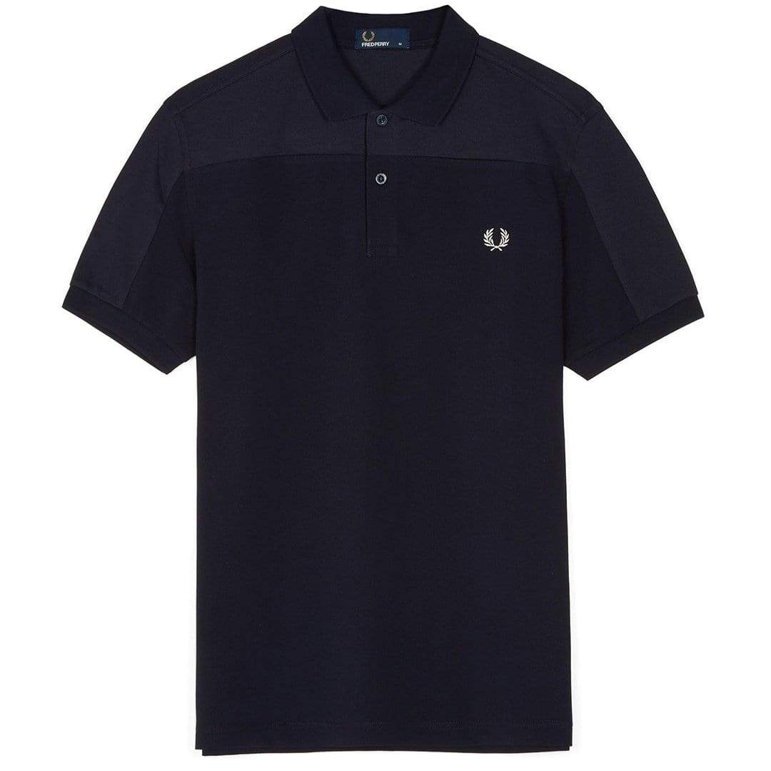 Fred Perry M4573 Tonal Panel Pique Polo Shirt in Navy