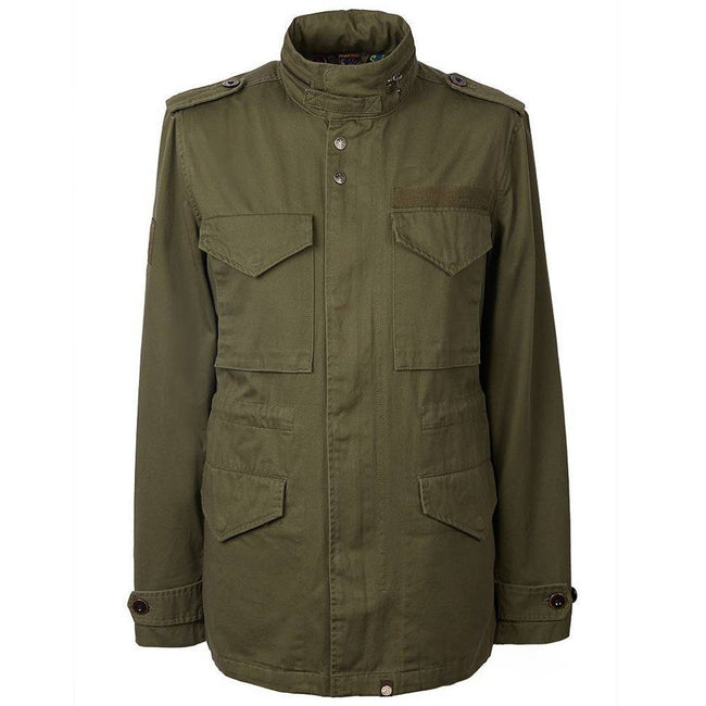 Pretty Green Cotton M65 Jacket in Khaki