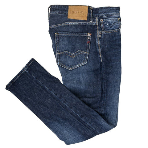 Rob Straight Tapered Jeans in Mid Blue Jeans Replay