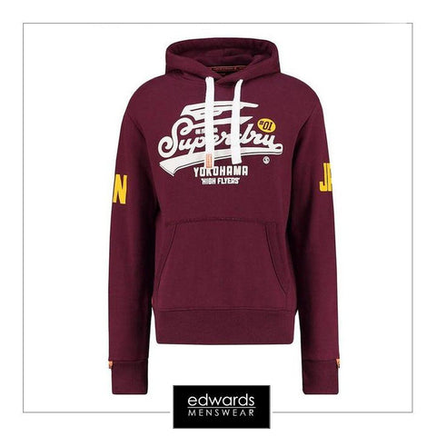 Superdry High Flyers Reworked Hood in Rich Burgundy Grit