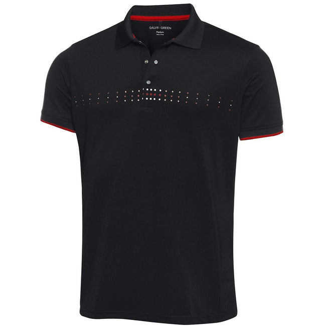 Galvin Green Milo Ventil8+ Polo Shirt in Black / Red / Snow Polo Shirts Galvin Green
