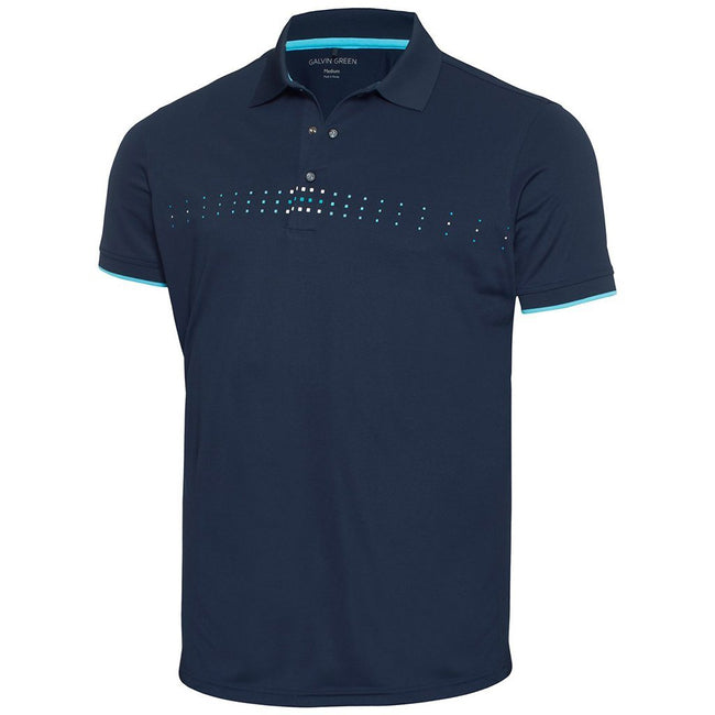 Galvin Green Milo Ventil8+ Polo Shirt in Navy / River Blue / Snow