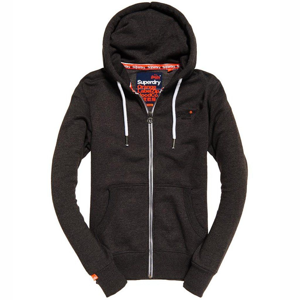 Superdry Orange Label Ziphood in Low Light Black Grit Hoodies Superdry