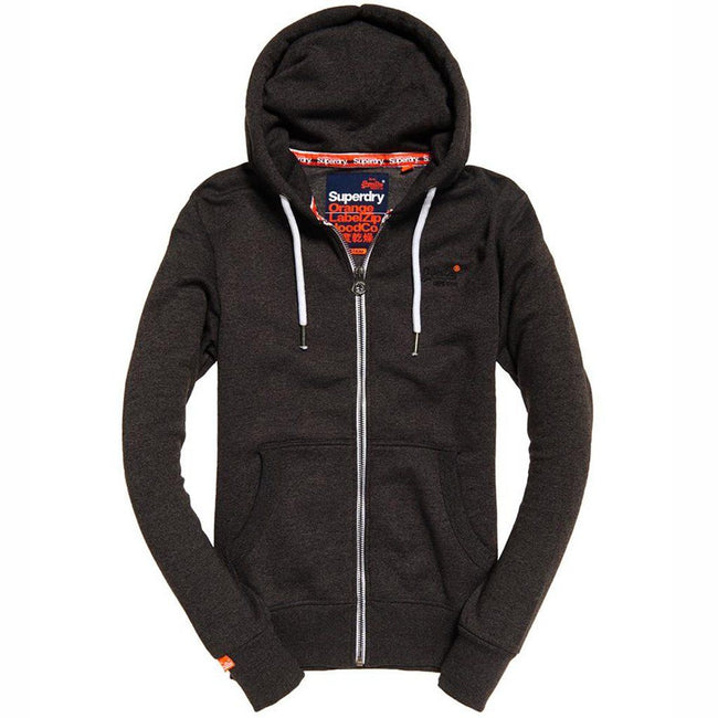 Superdry Orange Label Ziphood in Low Light Black Grit