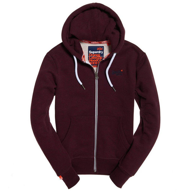 Superdry Orange Label Ziphood in Burgundy Grit