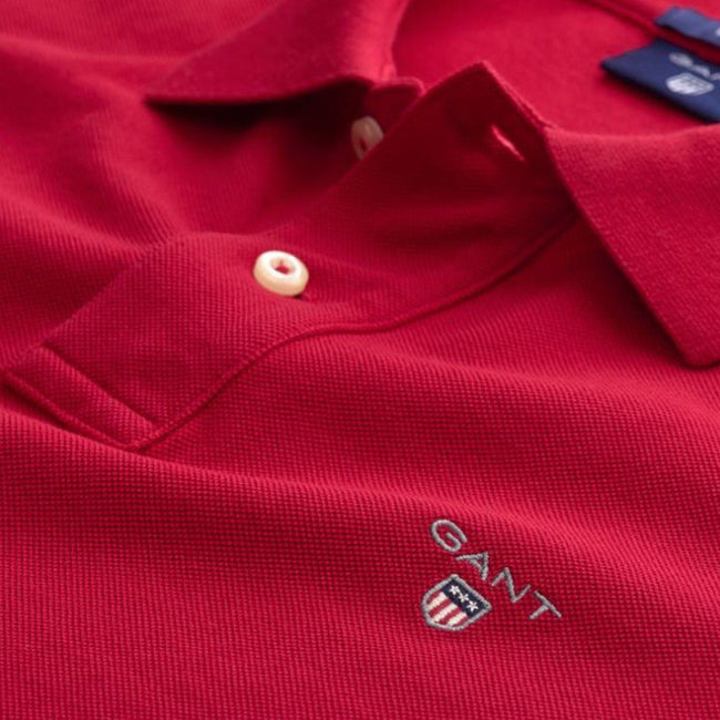 Gant The Original Pique SS Rugger in Red Polo Shirts Gant