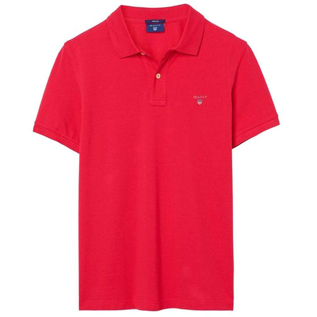 Gant The Original Pique SS Rugger on Rose Red Polo Shirts Gant