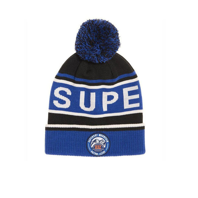 Superdry Oslo Racer Beanie in Cobalt / Off White / Black