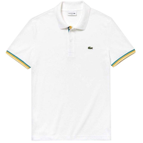 PH4220-001 Slim Fit Piped Polo Shirt in White Polo Shirts Lacoste