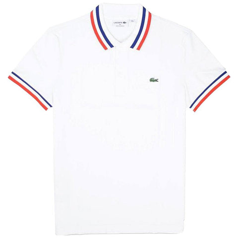 PH4243-9HW Made in France Pique Polo in White / Red / Navy Polo Shirts Lacoste