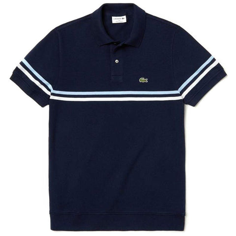 PH4246-9JG Made in France Pique Polo in Navy / White / Light Blue Polo Shirts Lacoste