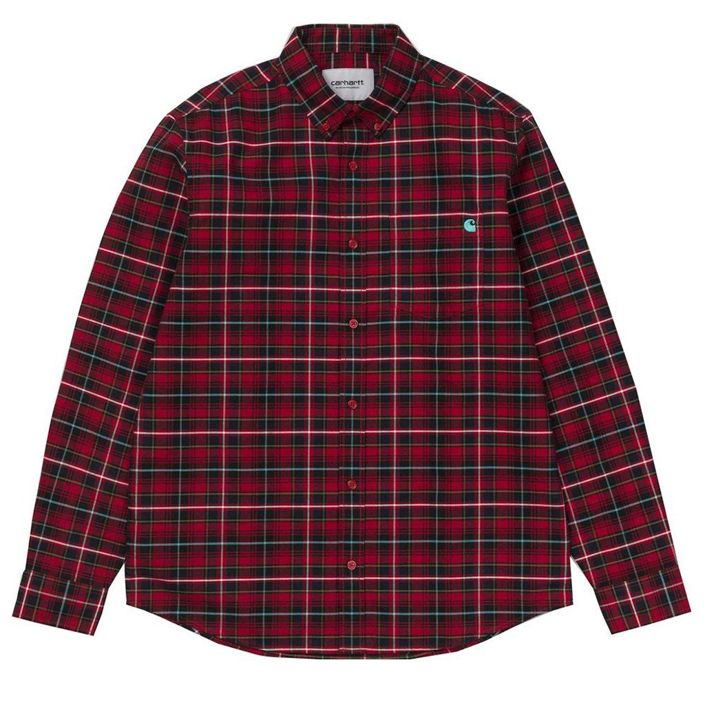 Carhartt Patton Check Shirt in Blast Red / Soft Teal