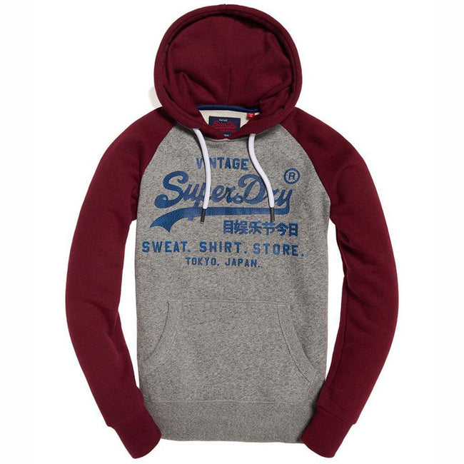 Superdry Sweat Shirt Store Raglan Hood in Phoenix Grey / Bright Berry