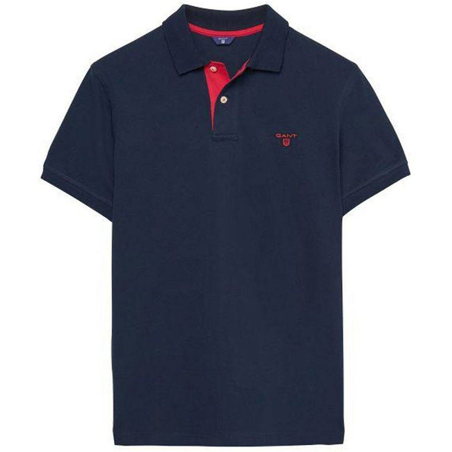 Gant The Contrast Collar Pique SS Rugger in Evening Blue Polo Shirts Gant