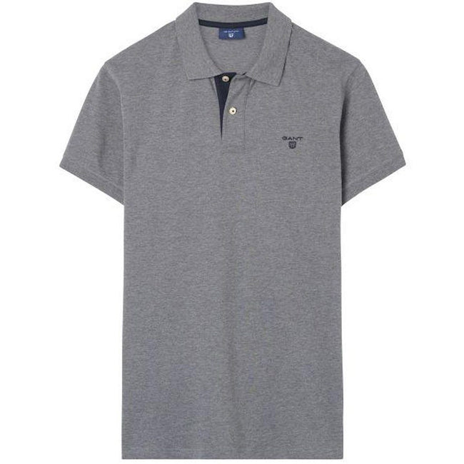 Gant The Contrast Collar Pique SS Rugger in Dark Grey Melange