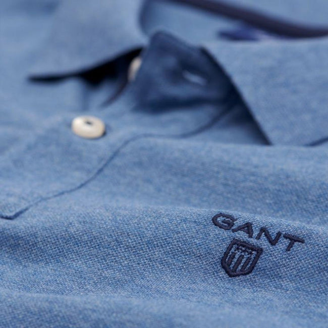 Gant The Contrast Collar Pique SS Rugger in Denim Blue Melange Polo Shirts Gant