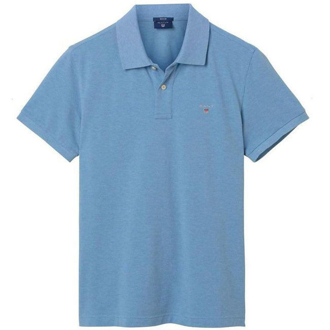 Gant The Original Pique SS Rugger in Lake Blue Melange