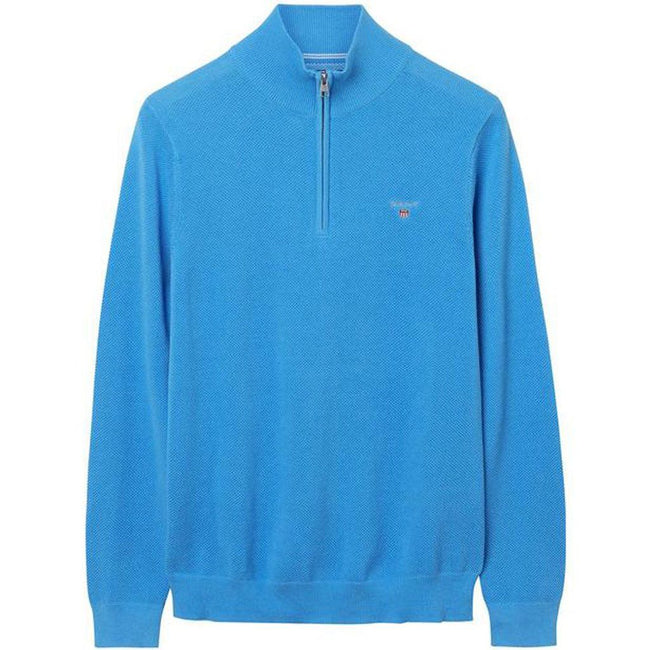 Gant Cotton Pique Half Zip Jumper in Pacific Blue