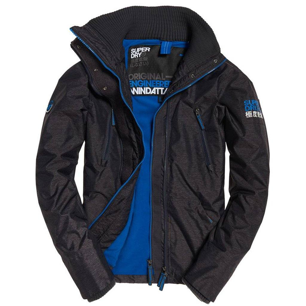 Superdry Polar Wind Attacker in Dark Charcoal Marl / Super Denby Coats & Jackets Superdry