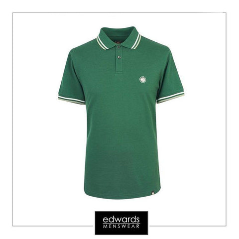 Pretty Green Tipped Pique Polo Shirt in Dark Green