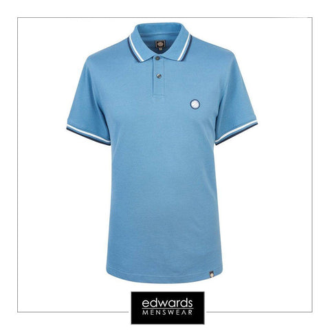Pretty Green SS Polo Shirt in Mid Blue